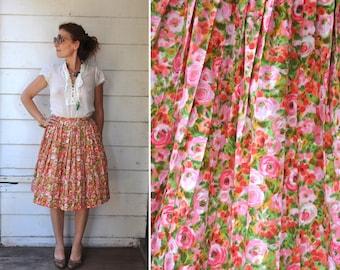 SALE Vintage Full Skirt - Floral Skirt - Pleated Skirt - 50s Skirt - Flowers Skirt - Fitted Waist Skirt - Summer Boho Mid Century size XS S