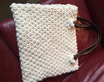 Hand knitted market tote bag