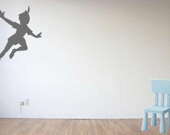 Flying Peter Pan Silhouette Shadow Vinyl Decal / Sticker - Neverland Believe Never Grow Up