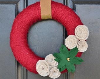 Christmas Yarn Wreath, Poinsettia Wreath, Handmade Christmas Wreath , Handmade Holiday Wreath, Christmas Decor,Holiday Decor
