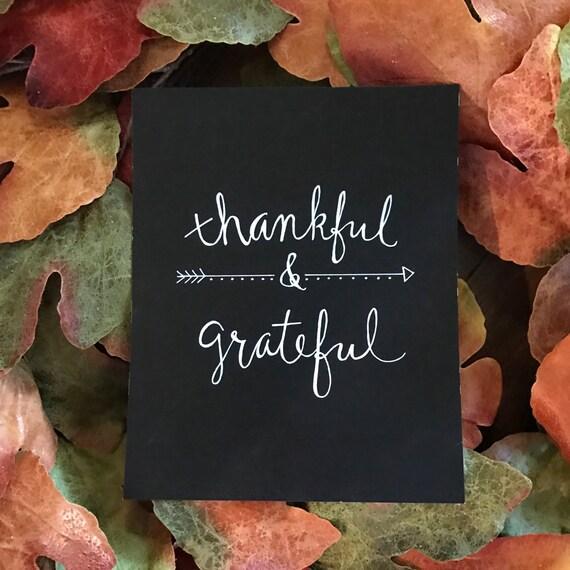 Thankful & Grateful chalkboard art print - 8x10 - frameable