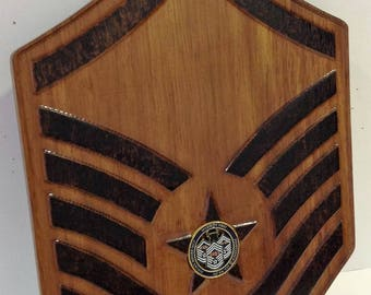 MSgt Rank with Coin Inlay Plaque