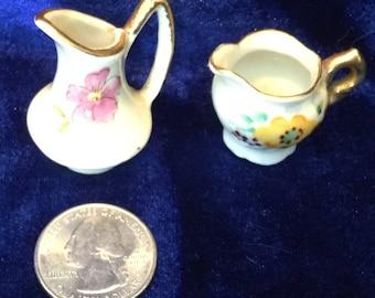 Miniature Porcelain Pitchers Gold Trimmed Dollhouse