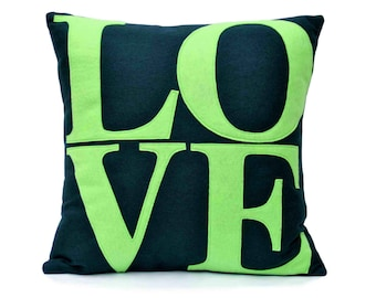 LOVE Throw Pillow Cover Appliquéd in Navy and Green Eco-Felt 18 inches