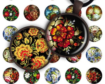75% OFF SALE Digital Collage Sheet, Folk Art, 1 inch size image for pendants round glass cabochon charms resin digital image magnets jewelry