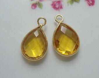 4 pcs, 16x10mm, Tear Drop Citrine Quartz Gold Vermeil Sterling Silver Bezel Charm Pendant finding, November Birthstone, CQ