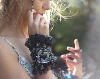 Black goth cuff, Gothic bracelet, Beaded boho cuff bracelet, Black gypsy cuff , Black embroidered cuff, Embroidered bracelet, Steampunk