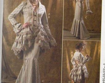 McCall's Costume Pattern 6770 RUFFLED JACKET BUSTLE/Capelet Skirt & Pants  Misses Sizes 12 14 16 18 20