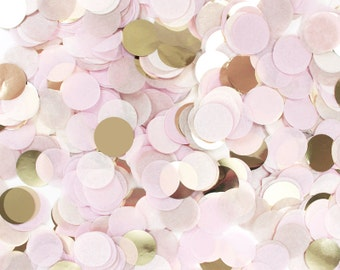 "Engagement Confetti - Blush Pink & Gold - Tissue Paper - Champagne Ivory Rose - 1"" Circle One Inch Handmade Hand Cut - Choose .5 oz or 1 oz"