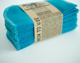 Baby Cloth Wipes - Reusable Baby Cloth Diaper Wipes - Set of 15  Wipes - Solid Teal