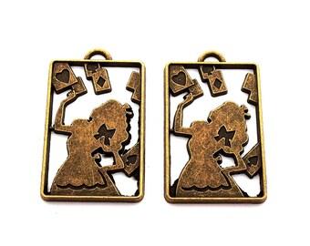 LOT 2 charm pendant alice in Wonderland rectangle heart knot card 40x24mm bronze