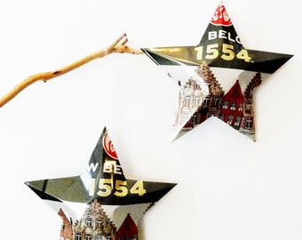 New Belgium 1554 Black Lager Beer Stars, Christmas Ornaments, Aluminum Can Upcycled