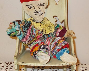 Vintage 50s 60s Creepy Halloween Primitive Circus Toy Handmade Clown Old Calico Print Yo Yo Quilt Pieces Cloth Doll