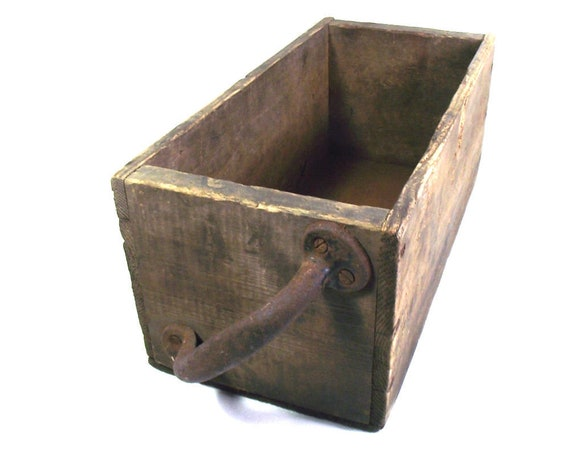 Antique Rustic Wooden Box with an Iron Handle
