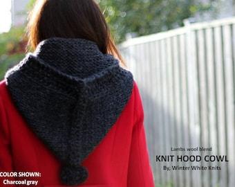KNIT HOOD COWL, wool hood, wool cowl scarf, winter hood scarf, hood hat, knit hood, chunky knitted hood, cozy knit hood, pixie hood