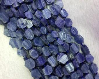 "Natural Genuine Raw Mineral Dark Blue Kyanite Flat Polygon Nugget Smooth Loose Beads 15.5"" 05523"