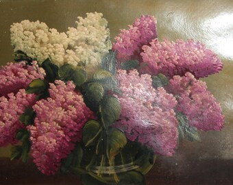 Impressionist still life lilac antique oil painting