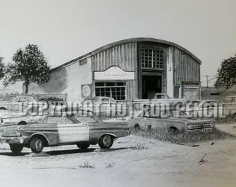 Ford Falcon Junkyard garage art personalized  Pencil Drawing Print