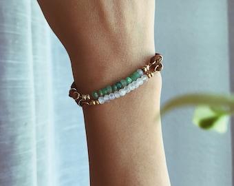 Gemstone bracelet - vegan leather bracelet - adjustable bracelet - faux suede bracelet - waterproof bracelet - beaded bracelet - minimal