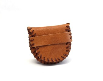 Vintage Brown Leather  Change Purse, Coin Purse, Wallet, Tan