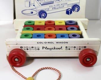 Playskool Col-O-Rol Vintage Wagon with blocks No 303N
