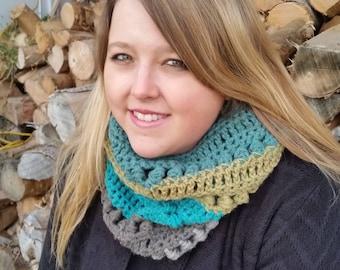 Wool Blend Crochet Cowl in Greens