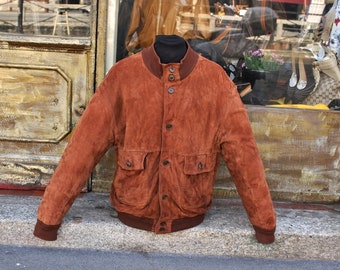 Leather jacket Reindeer Brown suede vintage original size L/XL