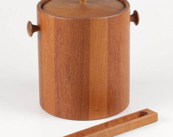 Mid Century Modern Era Lidded Teak Wood Ice Bucket with Plastic Liner and Matching Ice Tongs, ca 1960s