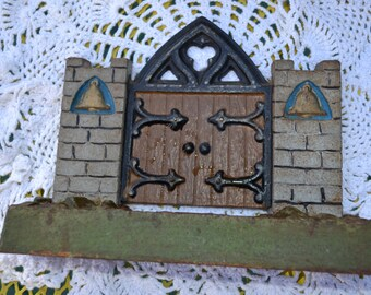 Polychrome bookends - wooden gate doors in a stone wall, (set of 2)