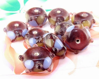 5beads/lot Charm Candy  Blue Bubble Rondelle Lampwork gemstone beads 8mmx13mm