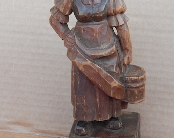 """Antique Hand Carved 7 """" Wood Carving"""