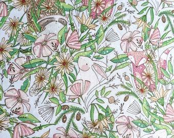 Cute animal print fabric, winter frolicking, gentle color animal print fabric, woodland creature fabric