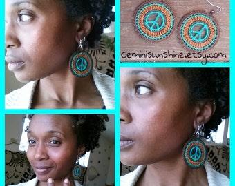 Hippie Peace Crochet Earrings