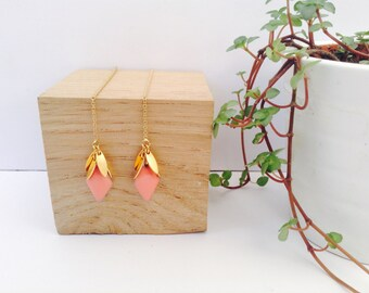 Gold and Coral Pink threader earrings in 14K Gold Filled, 14K Gold filled threader, Pink Threader earrings, Chain earrings