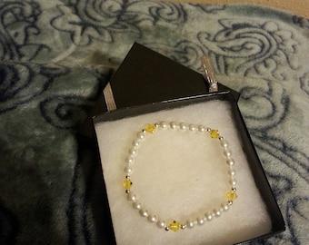 Yellow Swarovski Crystal Beaded Bracelet