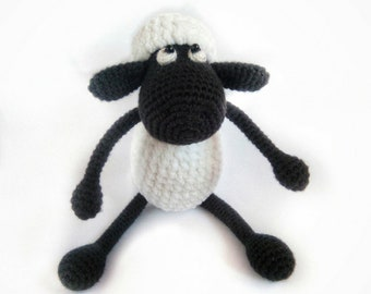 Crazy Black Sheep Amigurumi. Shaun the Sheep. Christmas. Souvenir.  Gift. Black and white. Crochet. Stuffed. Plush. Toy. Soft. Velvet.