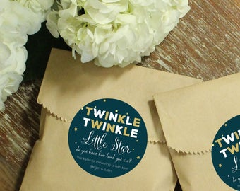 Baby Shower Favor Bags - Twinkle Twinkle Little Star Labels | Twinkle Twinkle Little Star Baby Shower Favors - Set of 24