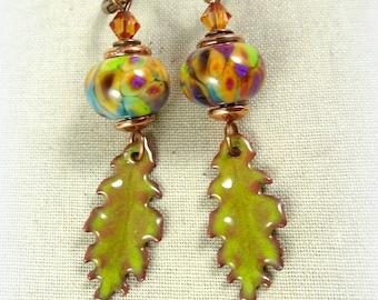 Colorful Lampwork Charm Earrings - Chartreuse Earrings, Fall Leaf Earrings, Fall Jewelry, Oak Leaf Earrings, Nature Earrings