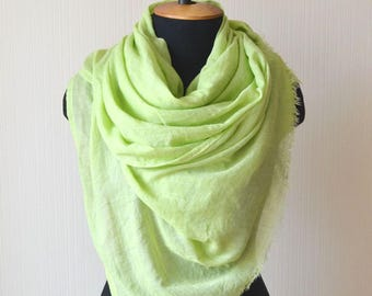 green scarf green shawl wife green gift gardening gift vegan gift womens gift for women greenery scarf cotton scarf mom boho gift