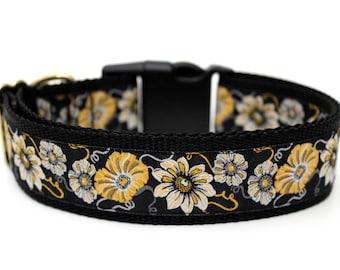 """Golden Flower Dog Collar 1.5"""" Large Dog Collar Flower Dog Collar"""