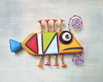 Artsy Anchovy, Fish Wall Art, Original Found Object Wall Sculpture, Wood Carving, Marine Art, Painted Sculpture, by Fig Jam Studio