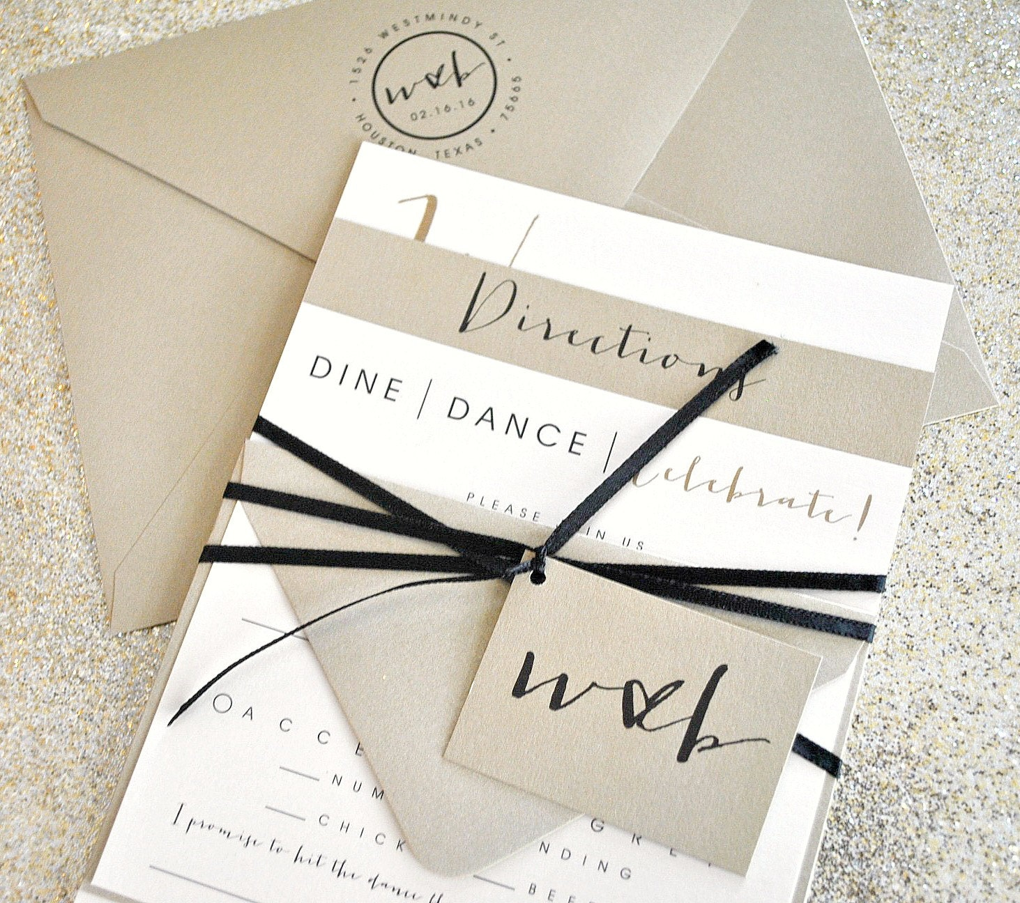 Bronson Wedding Invitation Suite with Monogram Tag and Ribbon