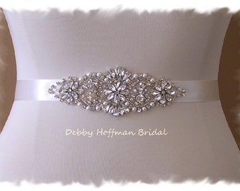 Bridal Sash, Pearl Rhinestone Wedding Belt, Rhinestone Crystal Pearl Bridal Sash, No 4067S Wedding Accessories, Bridal Jeweled Pearl Sash