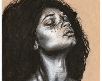 """Charcoal Print on toned paper """"Hair"""""""