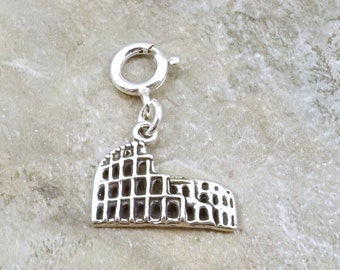 Sterling Silver Roman Coliseum Charm - Fits Both Traditional and European Charm Bracelets - 0077
