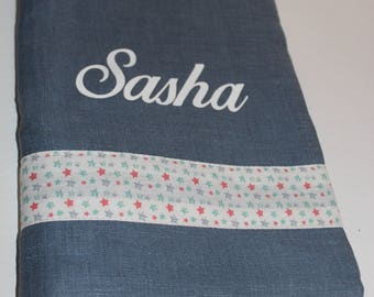 Personalized linen baby-child health book