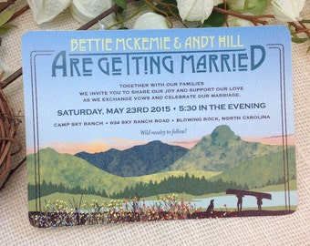 Craftsman Mountain with wild flowers lake and canoeing couple 5x7 Wedding Invite: Get Started Deposit or DIY Payment