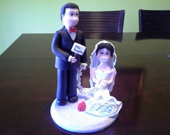 Groom and Tied Bride Clay Wedding Cake Topper