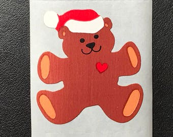 80's Sandylion Stickers, Scrapbooking, Vintage, Christmas Bear with Hat  (1 mod)