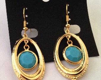 Designer Handmade Turquoise Blue Swarovski Channel Earrings , 18K GP